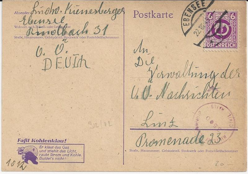 Notmaßnahmen und Provisorien bei Postkarten 1945-1948 Bild_617
