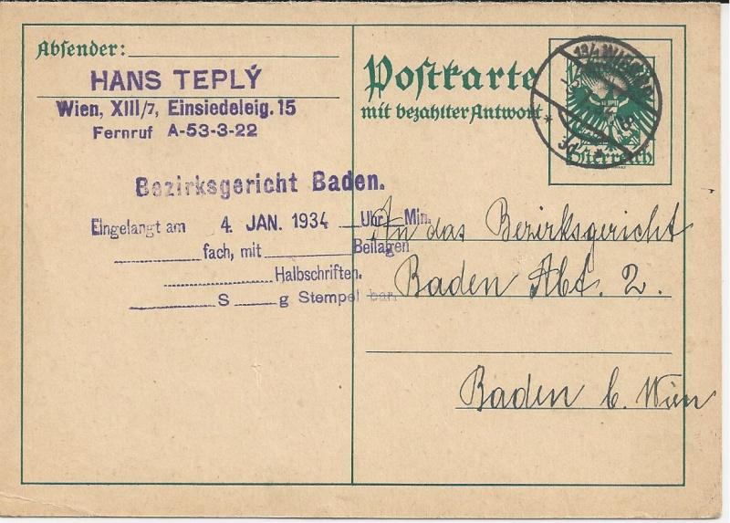 Bedarfspost Ganzsachen Österreich 1925-1938 Bild_619