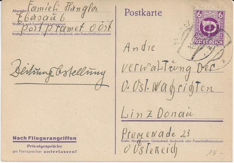 Notmaßnahmen und Provisorien bei Postkarten 1945-1948 Bild_713