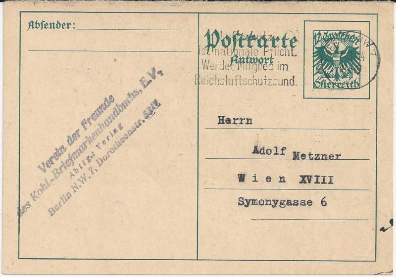 Bedarfspost Ganzsachen Österreich 1925-1938 Bild_716