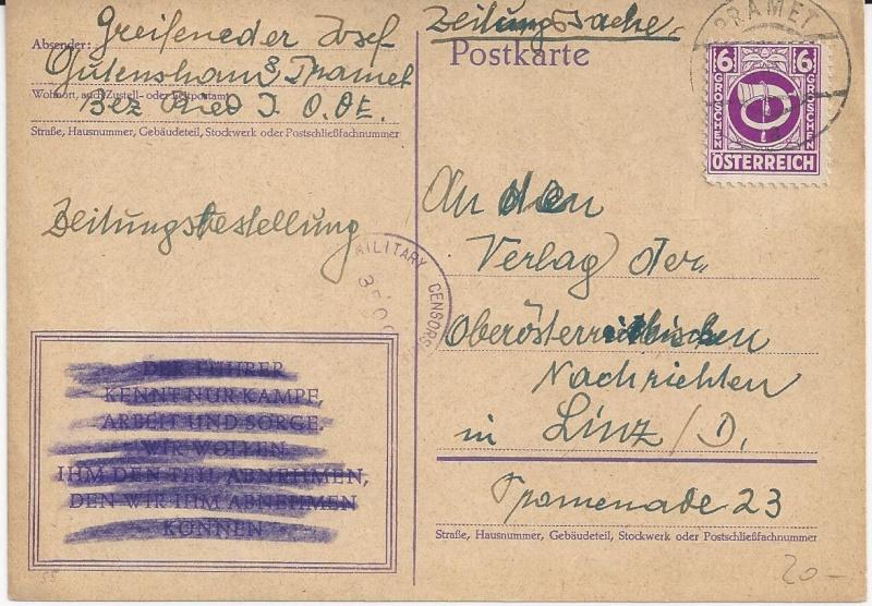 Notmaßnahmen und Provisorien bei Postkarten 1945-1948 Bild_813