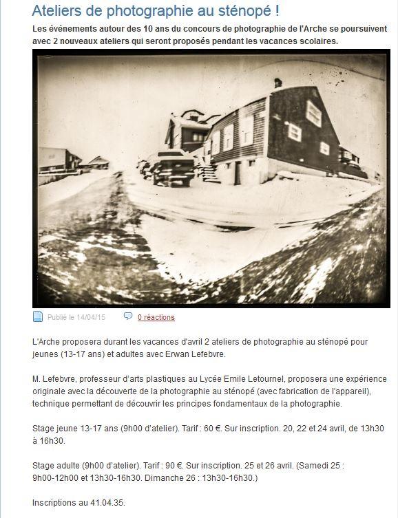 Stage de photographie organisé par le musée de l'Arche. 7269