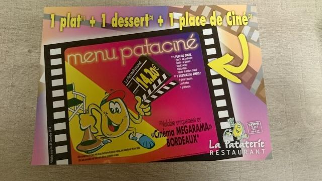 """Formule """"La Pataterie""""+ 1 place de Cinéma à 14,20€ 11205010"""