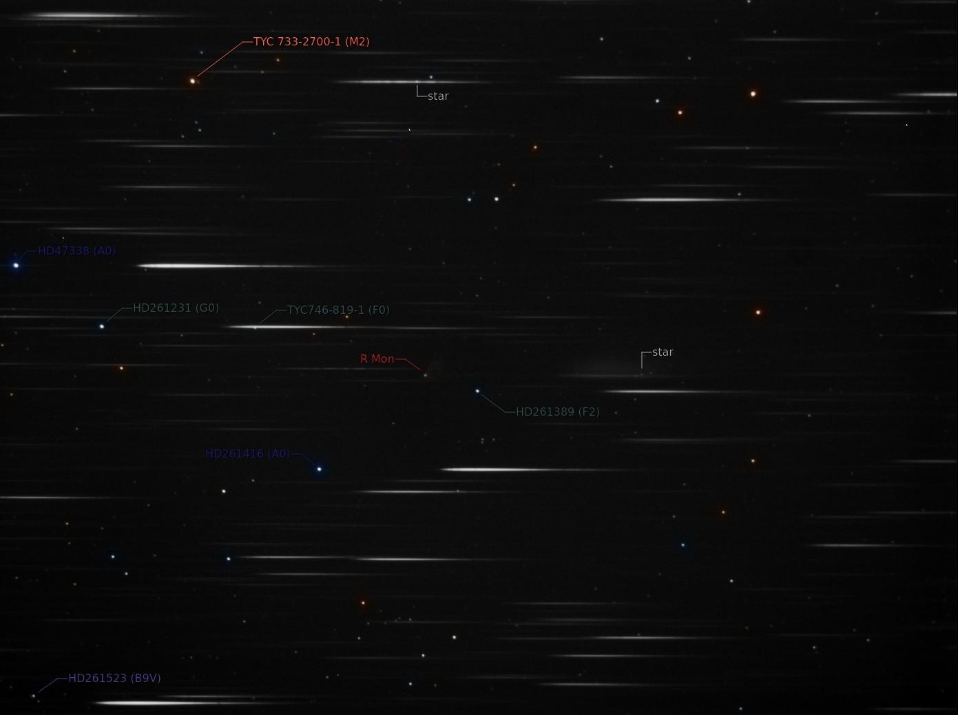 La nébuleuse variable de Hubble et son bébé étoile R Mon Spectr12