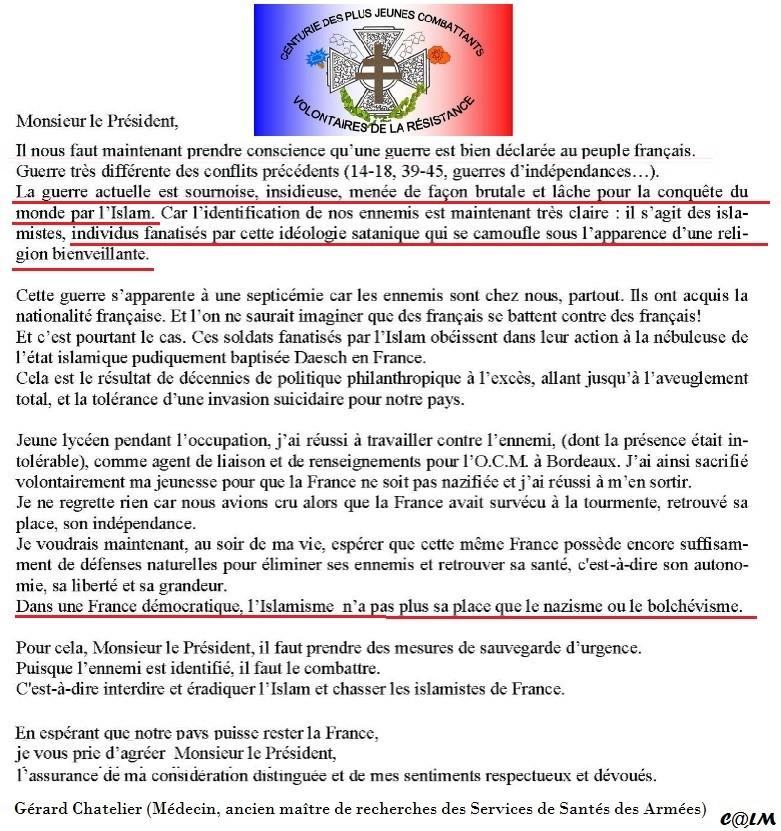 """Un résistant à Hollande: En France, """"l'islamisme n'a pas plus sa place que le nazisme ou le bolchevisme"""" Lettre11"""