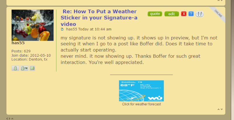How To Put a Weather Sticker in your Signature-a video  Scree100