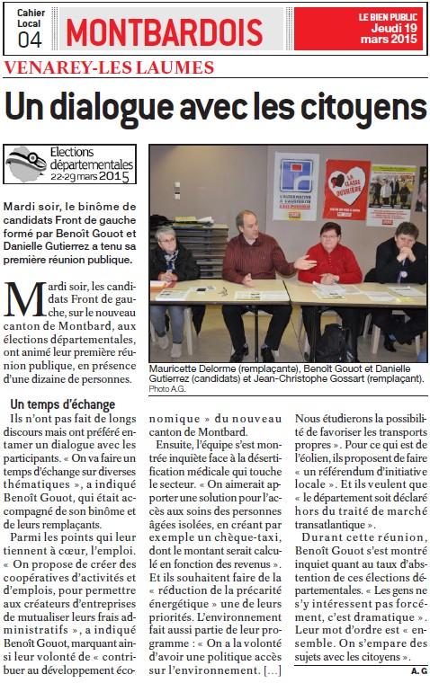 Élections départementales 2015 Montbard : Benoît Gouot et Danielle Gutierrez sont candidats + Profession de foi + Tract + Venarey-lès-Laumes : Un dialogue avec les citoyens (Bien Public) Un_dia10