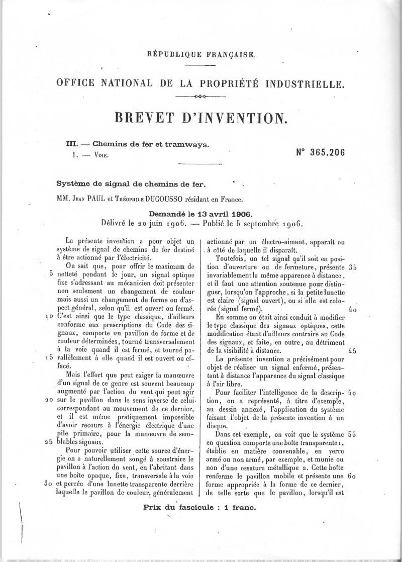 L'invention d'un signal du Midi Brevet11
