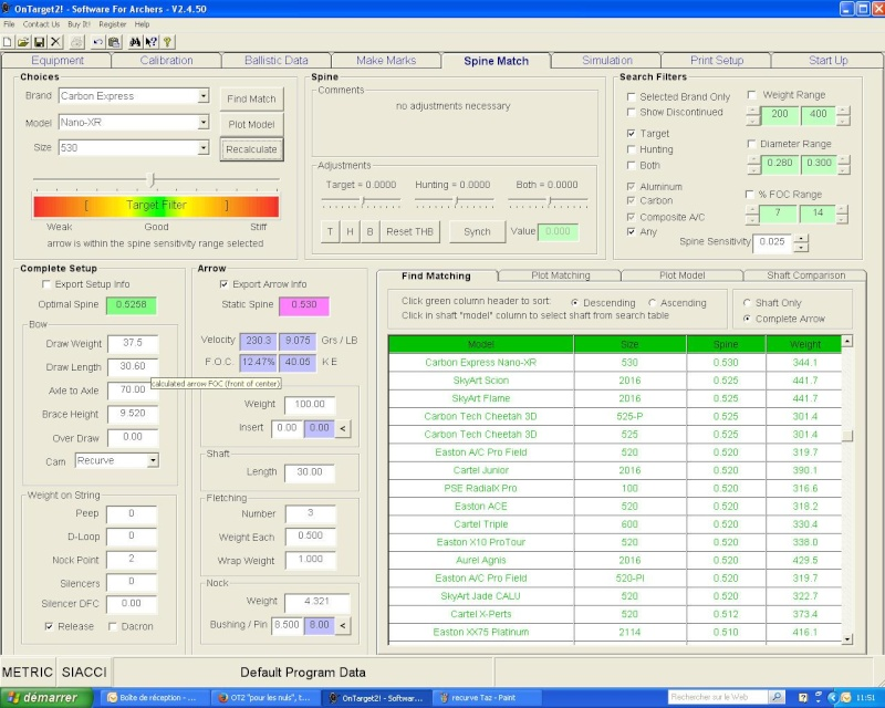 """OT2 """"pour les nuls"""", tutoriel du logiciel On Target 2 (SFA) - Page 8 Recurv11"""