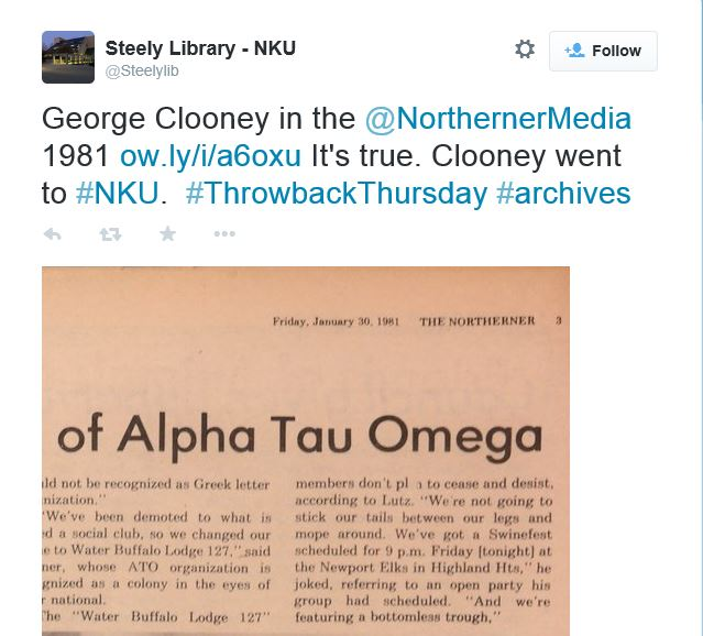 George Clooney in the NorthernerMedia 1981 - Throwback Thursday Nn10