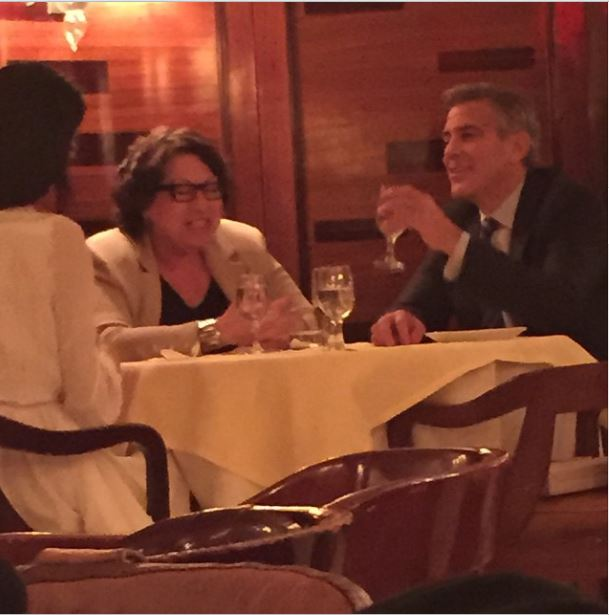 George Clooney & Amal Clooney Have Dinner With Supreme Court Justice Sonia Sotomayor April 8 2015 Pp10