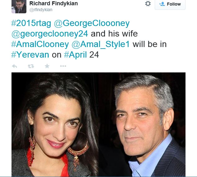 George Clooney will award the 100 LIVES inaugural Prize at a ceremony to be held in Yerevan, Armenia on 24 April, 2016. Ww10