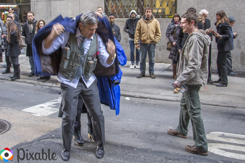 George Clooney Walking Around New York City In A Suicide Vest While Filming 'Money Monster' Friday, 24th April 2015 Xxx210