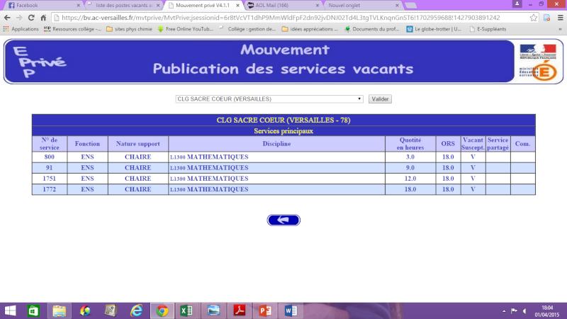 liste des postes vacants académie Versailles 111112
