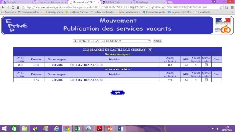 liste des postes vacants académie Versailles Pv210