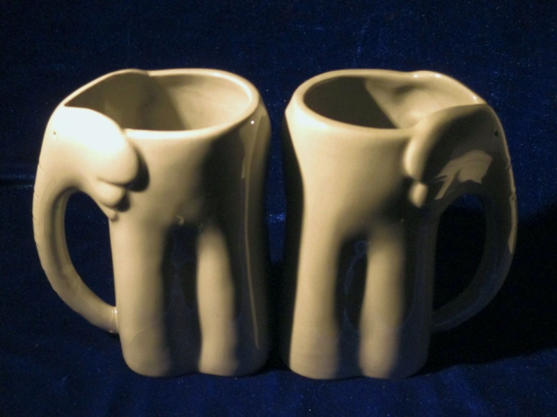 """Please help me I.D. these stylized Elephant Mugs stamped """"FN"""" Img_0113"""