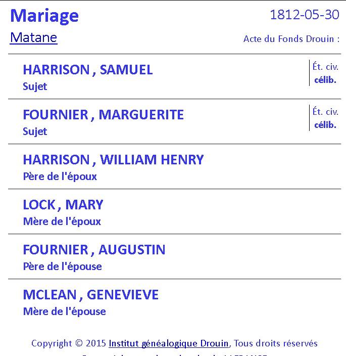 Samuel Harrisson et Marguerite Fournier 2 lignes de pensées qui dit VRAI - PAR DENISE PELLETIER MICHAUD Mariag62