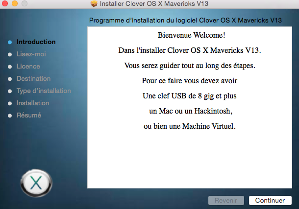 Installer OS X Mavericks V13 715