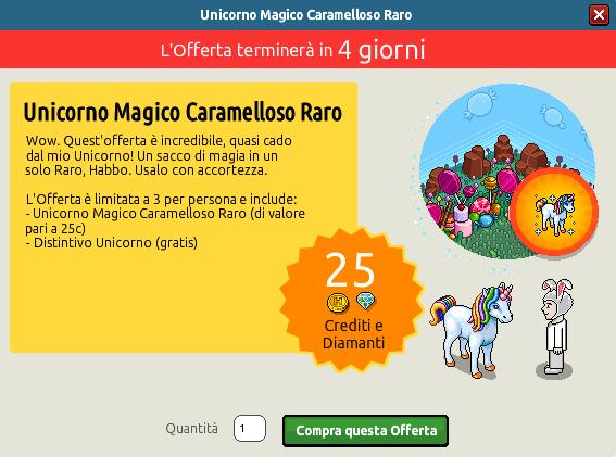 """[ALL] Offerta """"Unicorno Magico Caramelloso Raro"""" Uni10"""