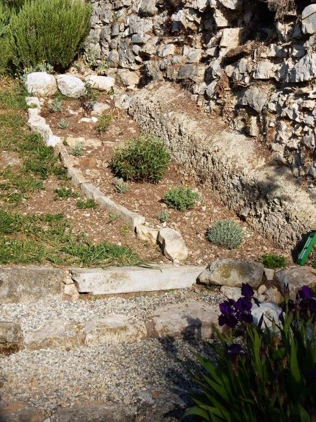 aménagement escalier et végétation contre un mur chez Abeille Octobr25
