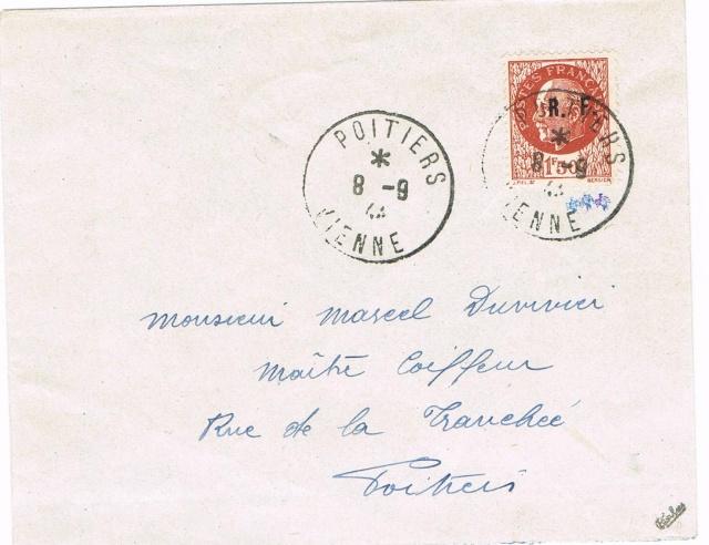 Emission de Poitiers Pétain 1 F 50 surcharge R F au type I Ccf13013