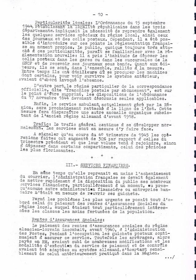 Rapport sur  les  conditions de reprise et de remise en marche des services postaux d'Alsace et de Lorraine après la Libération.     Ccf19010