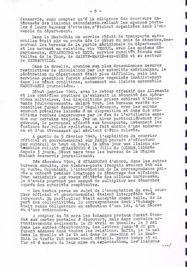 Rapport sur  les  conditions de reprise et de remise en marche des services postaux d'Alsace et de Lorraine après la Libération.     Ccf19012