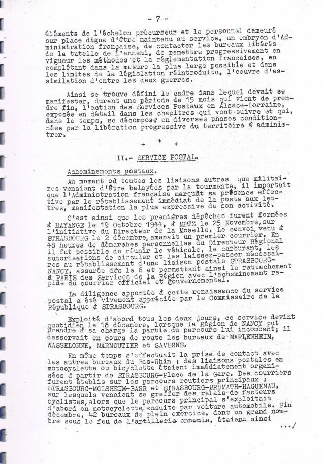 Rapport sur  les  conditions de reprise et de remise en marche des services postaux d'Alsace et de Lorraine après la Libération.     Ccf19013