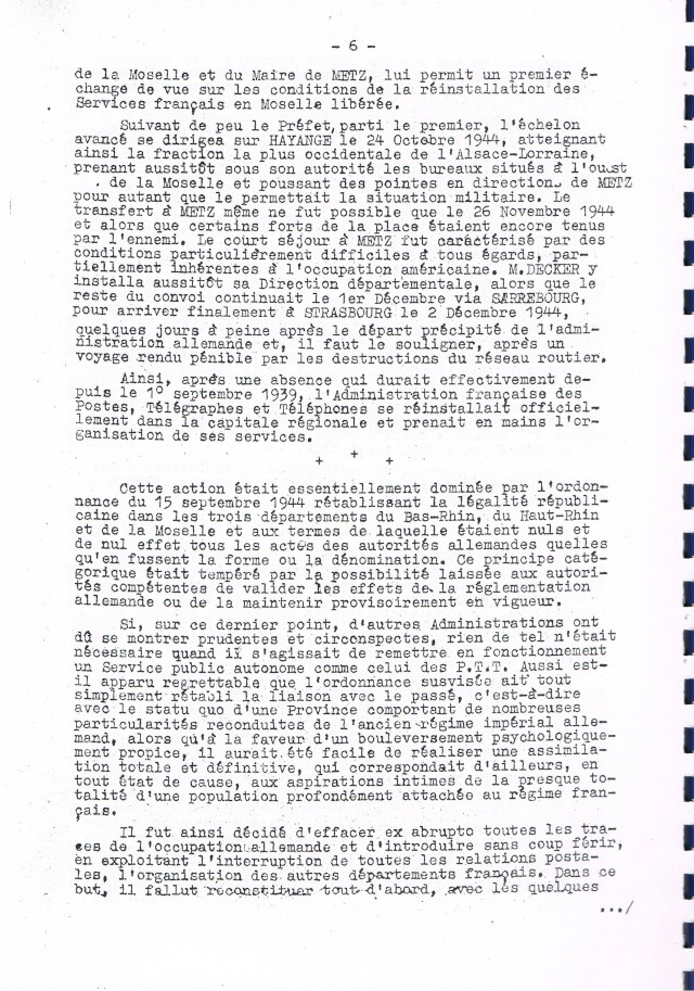 Rapport sur  les  conditions de reprise et de remise en marche des services postaux d'Alsace et de Lorraine après la Libération.     Ccf19014