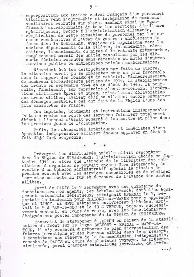 Rapport sur  les  conditions de reprise et de remise en marche des services postaux d'Alsace et de Lorraine après la Libération.     Ccf19015