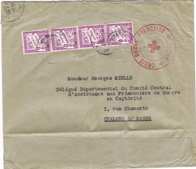 Enveloppe cachet «  *Croix-Rouge Française *  Reims  »,  TAD  « 10.7.43  Reims-Principal ». Taxée à 8 F . Ccf28010