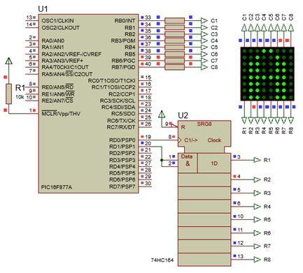 مبدأ برمجة سجل الإزاحة 74164 ، دخل تسلسلى خرج متوازى بدون ماسك مع الليد ماتريكس والمترجم CCS C  :  132