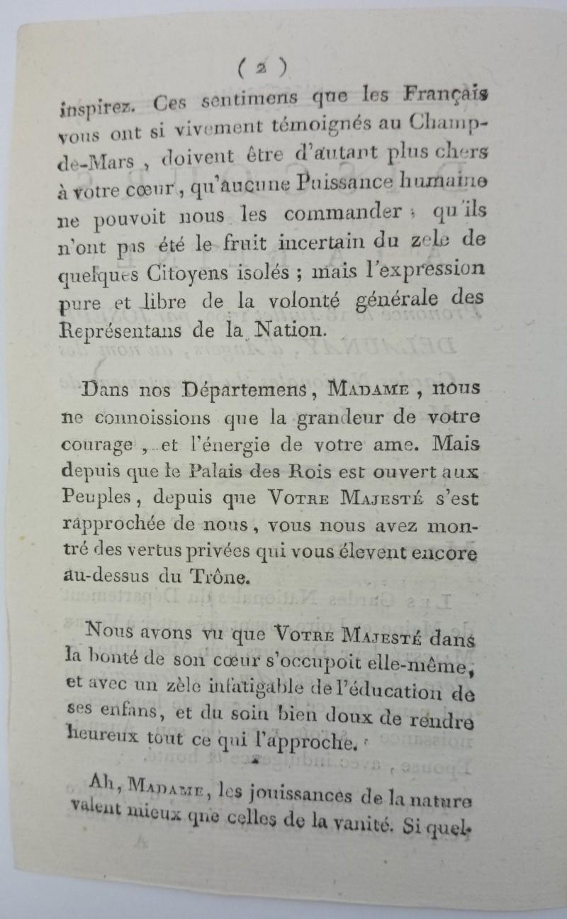 Discours dédié à la reine,  avec la réponse de Marie-Antoinette ajoutée par Axel de Fersen Dsc_0811