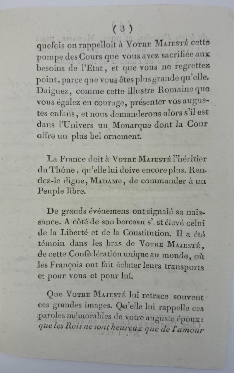 Discours dédié à la reine,  avec la réponse de Marie-Antoinette ajoutée par Axel de Fersen Dsc_0813