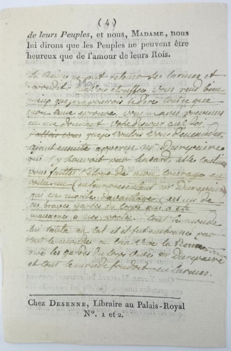 Discours dédié à la reine,  avec la réponse de Marie-Antoinette ajoutée par Axel de Fersen Dsc_0814
