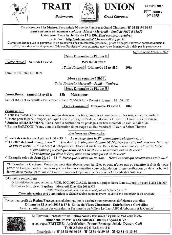 Trait d'union du 12 avril 2015 Tu150412