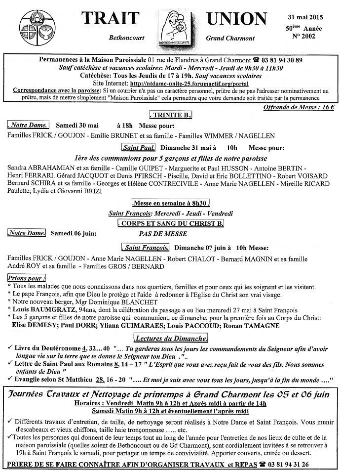 Trait d'Union du 31 mai 2015 Tu150522