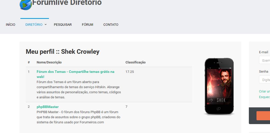 Administrar o perfil de usuário e envio de banners externos por URL - Diretório dos Sites Forumlive Profil10