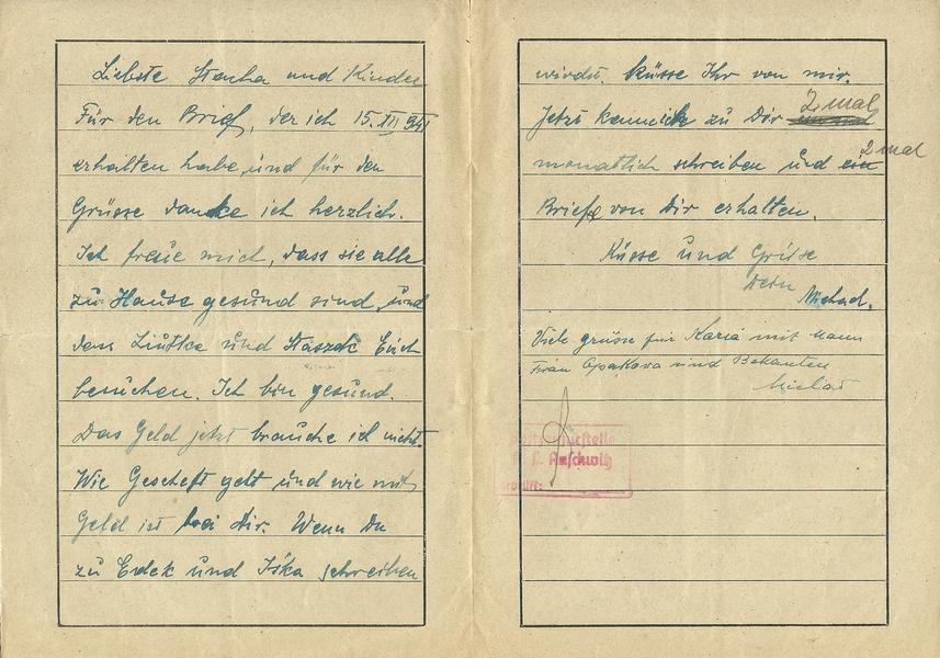 Lettre d'Auschwitz Numzo114