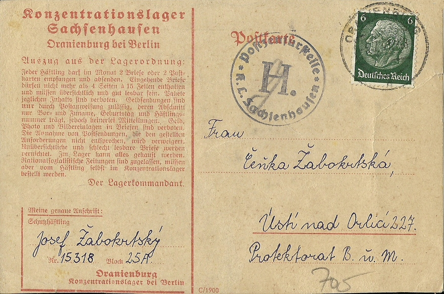 Carte KZ Sachsenhausen Numzor47