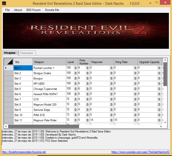 Resident Evil Revelations 2 Raid Save Editor PS3 & XBOX360 1_se11