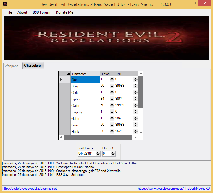 Resident Evil Revelations 2 Raid Save Editor PS3 & XBOX360 2_se10