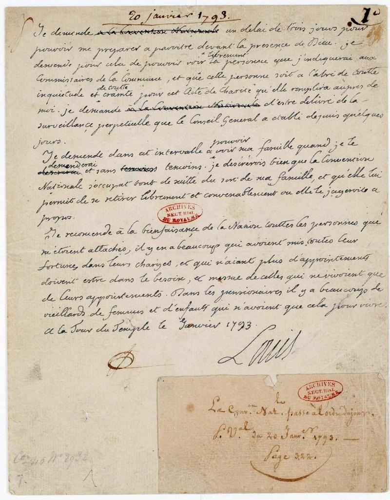 Correspondance et écrits du Roi Louis XVI Lettre10