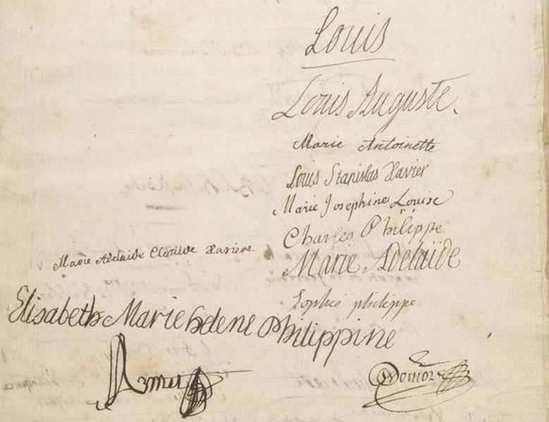 Contrat de Mariage du Duc de Villequier et de Melle de Mazade avec signatures de la Famille Royale Tylych11