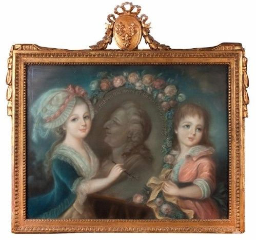 A vendre: Pastel représentant les Enfants dessinant le Roi Louis XVI Zagut11