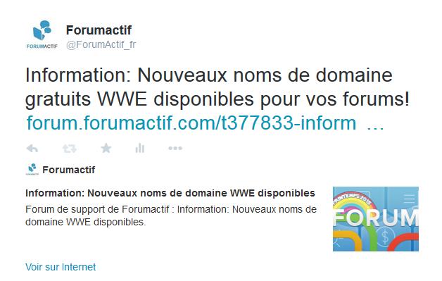 Nouveauté: Ajout des Twitter Cards sur les forums Forumactif 18-05-17