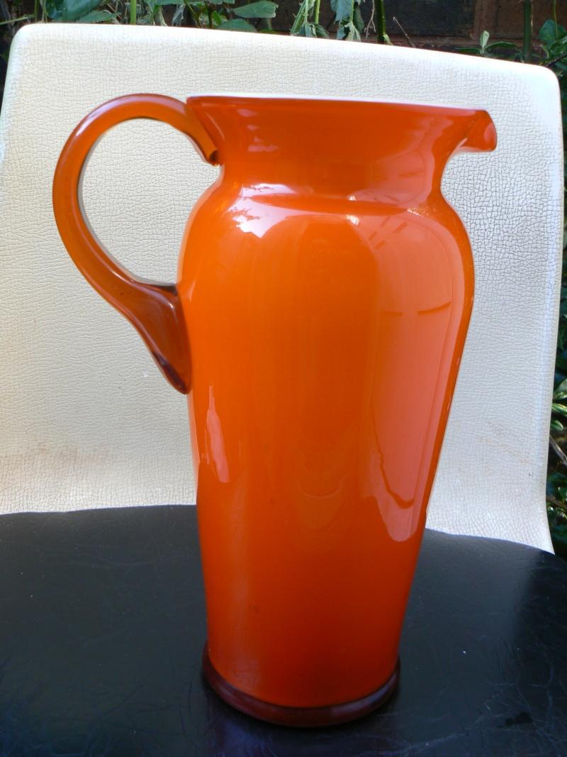 Tall Orange cased Glass jug,any maker P1180412