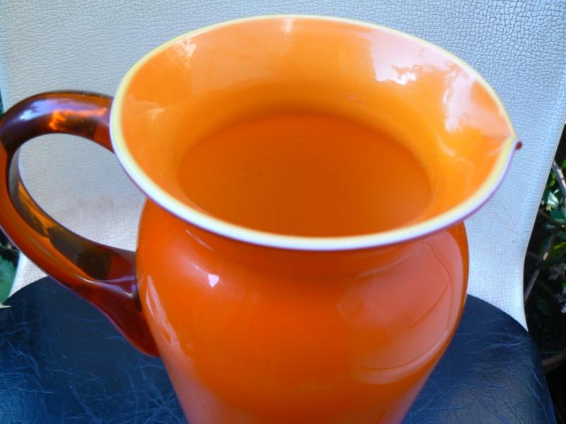 Tall Orange cased Glass jug,any maker P1180413