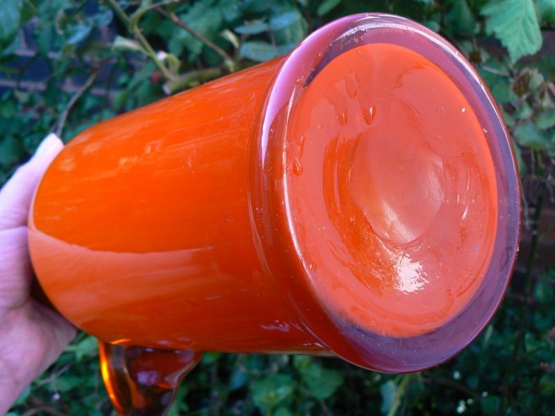 Tall Orange cased Glass jug,any maker P1180414