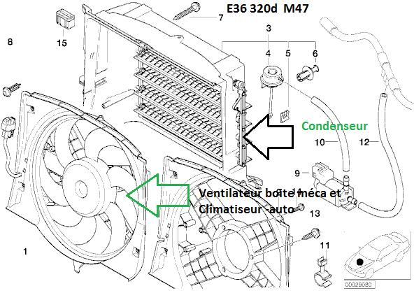 bmw e46 320d m47 an 1998   ventilateur refroidissement